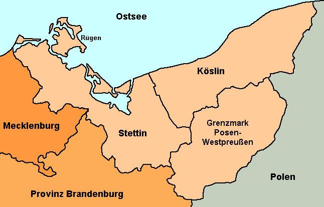 His Data Provinz Pommern Karte 1938