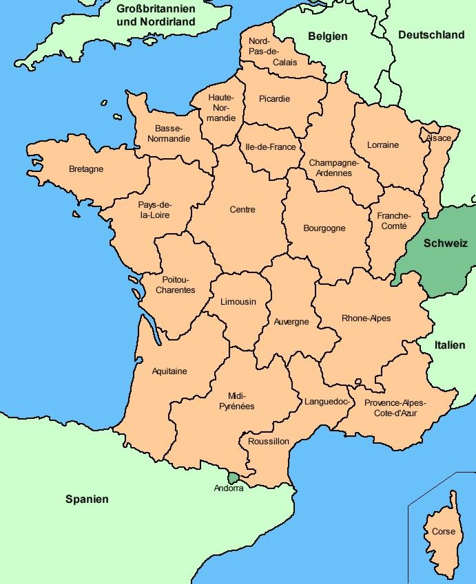 His Data Frankreich Regionen 2002 Karte